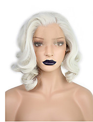 cheap -Synthetic Lace Front Wig Wavy / Water Wave Kardashian Style Bob Lace Front Wig Blonde White Synthetic Hair Women's Natural Hairline / Side Part Blonde / White Wig Short / Medium Length
