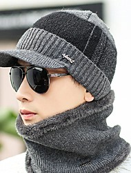 cheap -Men's Work Casual Sweater Floppy Hat-Solid Colored Knitted Winter Black Gray
