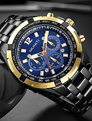 Недорогие -Муж. Наручные часы Авиационные часы Кварцевый Нержавеющая сталь Черный / Серебристый металл 30 m Cool Крупный циферблат Аналоговый Роскошь Классика Мода - Черный и золотой Синий Черный / Серебристый