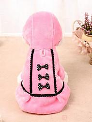 cheap -Cat Dog Dress Winter Dog Clothes Black Pink Costume Polar Fleece Bowknot Dresses&Skirts Casual / Daily S M L