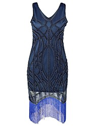 cheap -The Great Gatsby Charleston 1920s Masquerade Cocktail Dress Women's Sequins Tassel Costume Blue Vintage Cosplay Homecoming Sleeveless Short / Mini