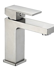 cheap -Bathroom Sink Faucet - Widespread Nickel Brushed Centerset Single Handle One HoleBath Taps / CUPC / UPC