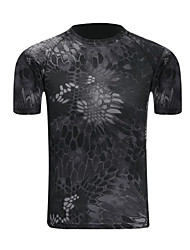 cheap -Men's Hiking Tee shirt Outdoor Trainer Breathability Tee / T-shirt Summer Polyester Camping / Hiking Hunting Outdoor Black