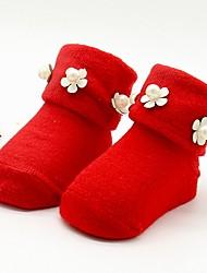 Недорогие -Ребёнок до года Девочки Однотонный Хлопок Белье / носки Красный / Очаровательный