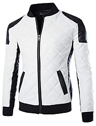 cheap -Men's Going out Vintage Fall / Winter Regular Leather Jacket, Color Block Stand Long Sleeve Others White / Black