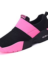 cheap -Women's Athletic Shoes Flat Heel Round Toe Ribbon Tie Rubber Booties / Ankle Boots Comfort Walking Shoes Spring / Fall Black / Blue / Pink / Color Block