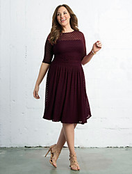 cheap -Women's Going out Active A Line Swing Dress - Solid Colored Lace Mesh Fall Navy Blue Wine L XL XXL