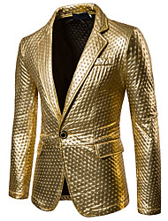 cheap -Men's Party / Casual / Daily Sophisticated Spring / Fall Regular Blazer, Solid Colored Shirt Collar Long Sleeve PU Cut Out Black / Gold / Silver / Slim