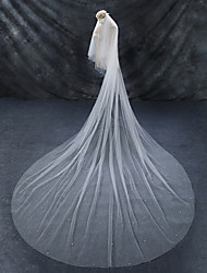 cheap -Two-tier Chapel Train / Cut Edge / Imitation Pearl Wedding Veil Cathedral Veils with Faux Pearl Tulle / Angel cut / Waterfall