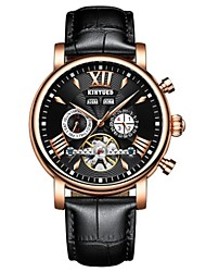 cheap -Men's Aviation Watch Swiss Automatic self-winding Genuine Leather Black / Brown 30 m Water Resistant / Waterproof Calendar / date / day Chronograph Analog Luxury Classic Fashion Elegant Cool - White