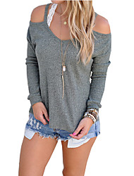 cheap -Women's Daily Weekend Basic Cotton Blouse - Solid Colored Cut Out Gray / Summer / Fall / Sexy