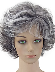 cheap -Synthetic Wig Curly Curly Layered Haircut Wig Short Grey Synthetic Hair Women's Gray hairjoy