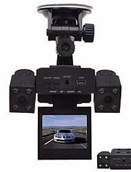 Недорогие -1280 x 480 Автомобильный видеорегистратор Широкий угол 2 дюймовый Капюшон с Ночное видение 8 инфракрасных LED Автомобильный рекордер / 2.0