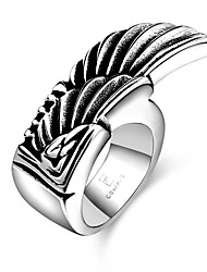cheap -Men's Band Ring wrap ring One-piece Suit Silver Steel Vintage Gift Daily Jewelry Feather