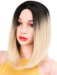 cheap -Synthetic Wig Straight Straight Bob Wig Blonde Short Blonde Grey Pink Blue Synthetic Hair Women's Dark Roots Blonde