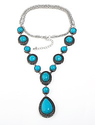 cheap -Women's Turquoise Statement Necklace Y Necklace Pear Cut Water Drop Necklace Drop Aquarius Ladies Bohemian Vintage Elizabeth Locke Turquoise Alloy Turquoise Necklace Jewelry For Gift Evening Party