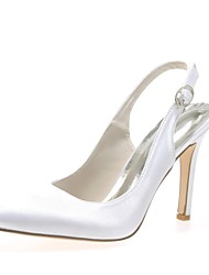 cheap -Women's Wedding Shoes Stiletto Heel Pointed Toe Buckle Satin Basic Pump Spring / Summer Blue / Champagne / Ivory / Party & Evening / EU42