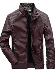 cheap -Men's Daily / Work / Weekend Military Fall / Winter Regular Leather Jacket, Solid Colored Stand Long Sleeve PU / Rayon Black / Wine / Brown / Slim