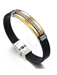 cheap -Men's Link Bracelet Button Asian Ethnic Fashion Stainless Steel Bracelet Jewelry Gold / Silver For Daily Formal / Leather