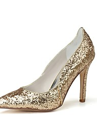 cheap -Women's Wedding Shoes Stiletto Heel Pointed Toe Paillette Basic Pump Spring / Summer Gold / Silver / Party & Evening