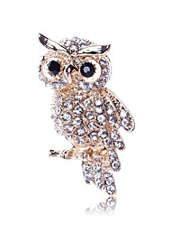 cheap -Women's Brooches Owl Animal Ladies Classic Imitation Diamond Brooch Jewelry Gold For Daily