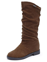 cheap -Women's Boots Low Heel Nubuck leather Mid-Calf Boots Snow Boots Winter Black / Brown / Wine / EU39