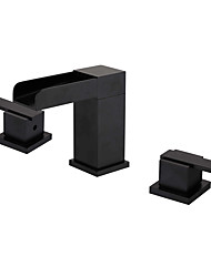 cheap -Bathroom Sink Faucet - Waterfall / Widespread Oil-rubbed Bronze Widespread Two Handles Three HolesBath Taps