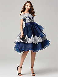 cheap -Ball Gown Off Shoulder Tea Length Chiffon / Corded Lace Cocktail Party / Prom Dress with Bow(s) / Lace / Sash / Ribbon 2020
