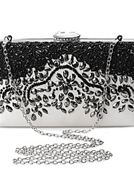 cheap -Women's Bags Polyester Metal Clutch Crystals Embroidery Wedding Bags Party Event / Party Black