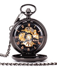 Недорогие -Для пары Часы со скелетом Карманные часы Кварцевый Черный С гравировкой Повседневные часы Аналоговый Дамы Роскошь На каждый день Череп Steampunk - Черный