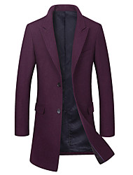 cheap -Men's Daily Basic Fall / Winter Long Coat, Solid Colored Fantastic Beasts Peaked Lapel Long Sleeve Wool / Polyester Black / Wine / Green