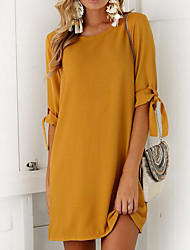 cheap -Women's Shift Dress Short Mini Dress Black Purple Orange Khaki Green Gray Half Sleeve Solid Colored Bow Summer Round Neck Streetwear S M L XL