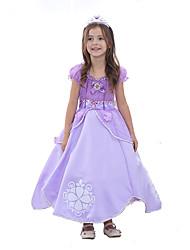 cheap -Princess Sofia Dress Kid's Ball Gown Slip Cartoon Birthday Halloween Festival / Holiday Polyster Light Purple Carnival Costumes Color Block Adorable