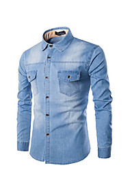 cheap -Men's Daily Weekend Cotton Slim Shirt - Solid Colored Blue / Long Sleeve
