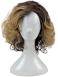 cheap -Synthetic Wig Curly Curly Wig Blonde Medium Length Golden Brown Synthetic Hair Women's Ombre Hair Blonde hairjoy