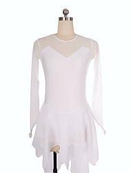 cheap -Figure Skating Dress Women's Girls' Ice Skating Dress White Spandex Inelastic Training Competition Skating Wear Solid Colored Long Sleeve Ice Skating Figure Skating