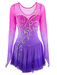 cheap -21Grams Figure Skating Dress Women's Girls' Ice Skating Dress Pink / Purple Sky Blue Dusty Rose Halo Dyeing Spandex High Elasticity Competition Skating Wear Handmade Ice Skating Figure Skating