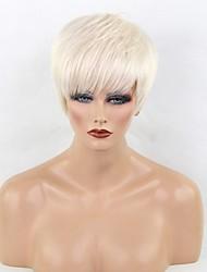 Недорогие -Человеческие волосы Парик Короткие Прямой Стрижка под мальчика Короткие Прически 2020 Прямой силуэт Боковая часть Машинное плетение Жен. Черный Medium Auburn Белый 8 дюйм