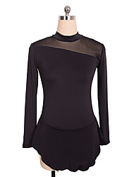 cheap -Figure Skating Dress Women's Girls' Ice Skating Dress Black Blue Spandex Inelastic Training Competition Skating Wear Solid Colored Long Sleeve Ice Skating Figure Skating