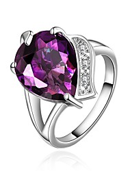 cheap -Women's Band Ring Synthetic Amethyst Cubic Zirconia One-piece Suit Purple Zircon Gold Plated Silver Circle Geometric Vintage Basic Fashion Wedding Engagement Jewelry Drop