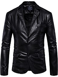 cheap -Men's Work Street chic Regular Leather Jacket, Solid Colored Shirt Collar Long Sleeve PU Brown / Black