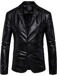 abordables -Homme Travail Chic de Rue Normal Veste de cuir, Couleur Pleine Col de Chemise Manches Longues Polyuréthane Marron / Noir