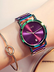 cheap -Women's Wrist Watch Japanese Quartz Stainless Steel Green / Purple Water Resistant / Waterproof Calendar / date / day Chronograph Analog Ladies Luxury Fashion Elegant Colorful - Black Gray Purple Two