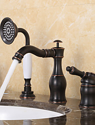 cheap -Bathtub Faucet, Black Antique Oil-rubbed Bronze Roman Tub Ceramic Valve Single Handle Three Holes with Hot and Cold Switch