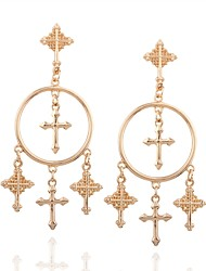 cheap -Women's Drop Earrings Cross Circle Cross Classic Oversized Earrings Jewelry Gold For Daily 2pcs