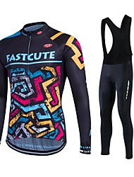 cheap -Fastcute Men's Cycling Jersey with Bib Tights - Black Bike Bib Tights Tights Jersey Pants / Trousers Clothing Suits, 3D Pad, Thermal /