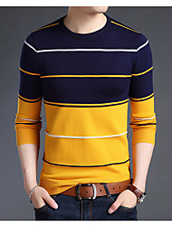 cheap -Men's Daily Basic Print Striped Long Sleeve Regular Pullover Sweater Jumper, Round Neck Fall / Winter White / Blue / Camel M / L / XL