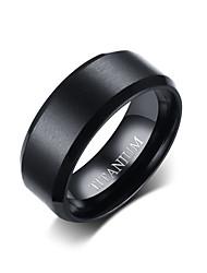 Недорогие -Муж. Кольцо Черный Титановая сталь Вольфрамовая сталь Круглый Простой Панк Мода Повседневные Официальные Бижутерия Классический Свадьба