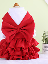 cheap -Dog Dress Dog Clothes Solid Colored Red Cotton Costume For Spring &  Fall Winter Men's Women's Casual / Daily