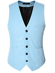 cheap -Men's Daily Spring / Fall Regular Vest, Solid Colored V Neck Sleeveless Polyester Wine / Purple / Blushing Pink / Business Formal
